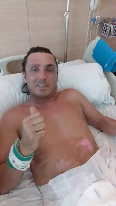Haydn Atwood in hospital in Malaga. Picture: Suzanne Gater