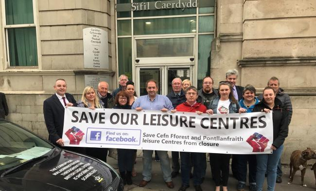 Protesters fighting Caerphilly's leisure centre closures