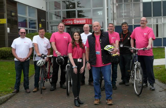 Fit club: Coleg Gwent construction staff are in training for their charity bike ride in aid of St David's Hospice Care Skye Lewis, of ST david's Hospice Care and Trevor Hull (front) with left to right, Phil Jones (brickwork) Carl Curtis (brick