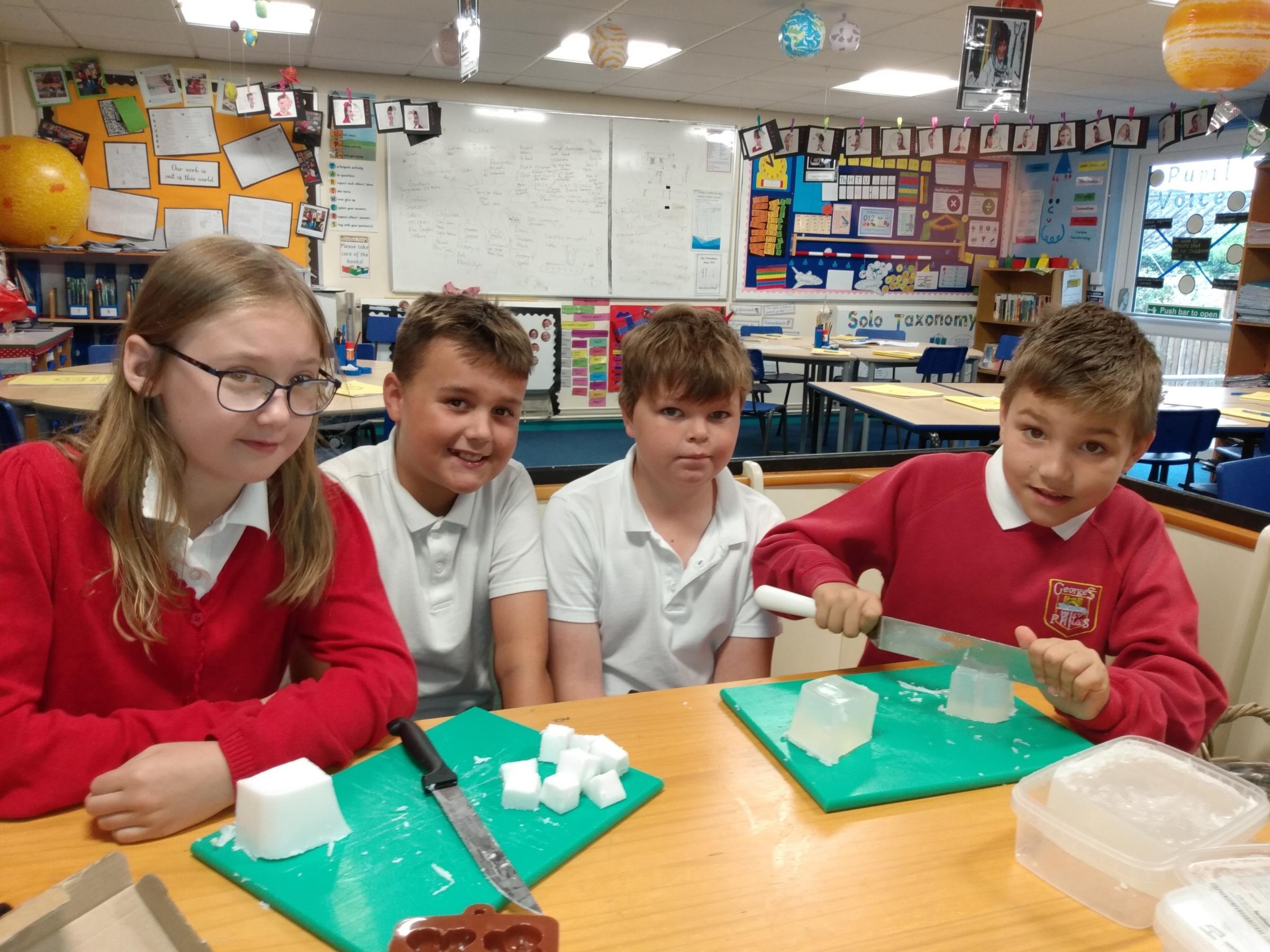 George Street Primary School pupils look to save the rainforest by making palm oil free soap for Torfaen Enterprise Week