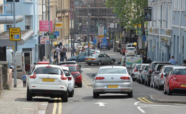 South Wales Argus: Free-for-all parking in Bridge Street, Newport. Picture: Chris Tinsley