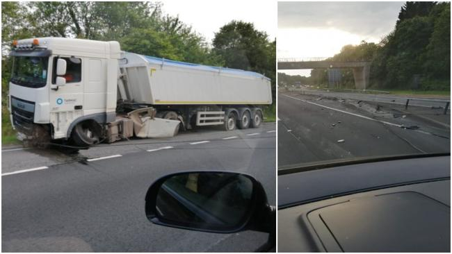 Lorry crashes through A449 central reservation Pictures: Nathan Dickson