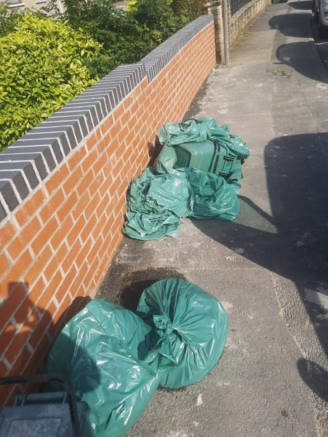Food and garden waste left out on the street. Picture: Emma Ross