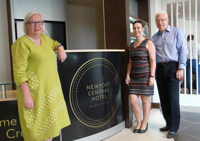 South Wales Argus business editor Jo Barnes, Jessica Marsh, of Newport Central Hotel, and Ron Griffiths, of RPS Technology Solutions. Picture: DBPR