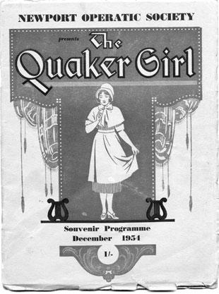 The cover of a programme for the Newport Operatic Society's production of 'The Quaker Girl'.