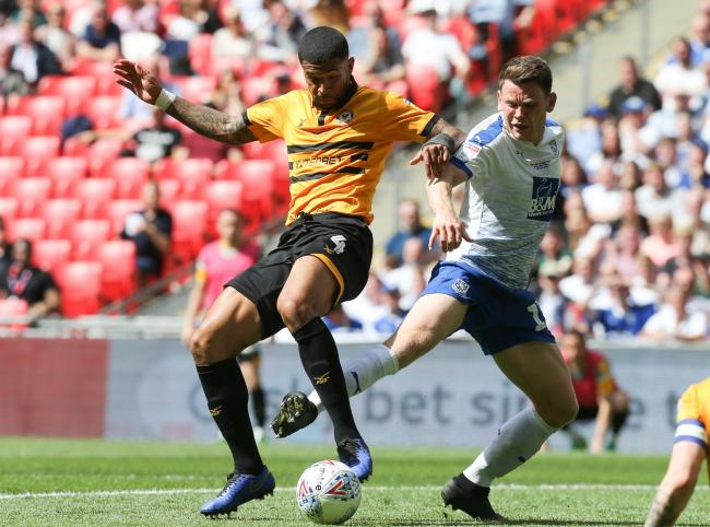 FOCUS: Joss Labadie in action for Newport County against Tranmere Rovers in the League Two play-off final in May