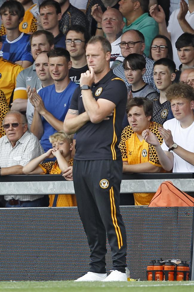 POSITIVE: Newport County manager Michael Flynn watches the action against Mansfield Town on Saturday