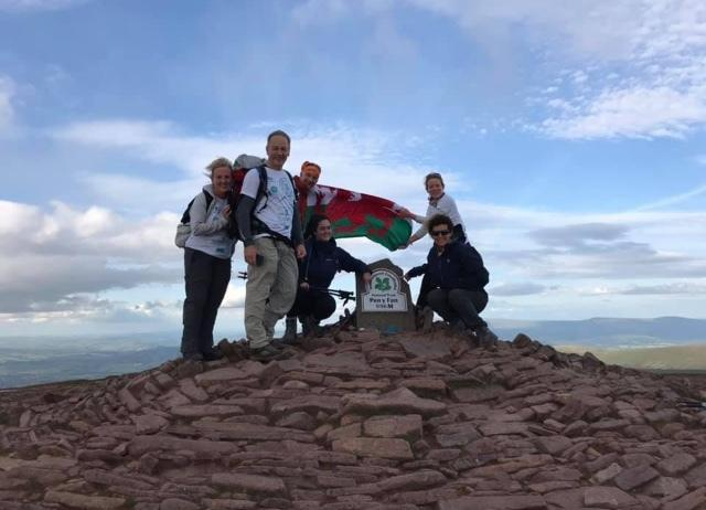 ABC chair Wayne Evans and member Rebecca Lees completing the Ty Hafan Welsh 3 Peaks Challenge with their teammates