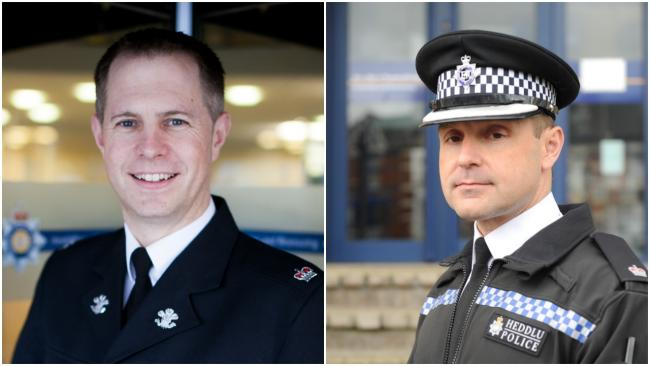 Temporary Assistant Chief Constable Marc Budden (L) and Chief Superintendent Mark Warrender (R)