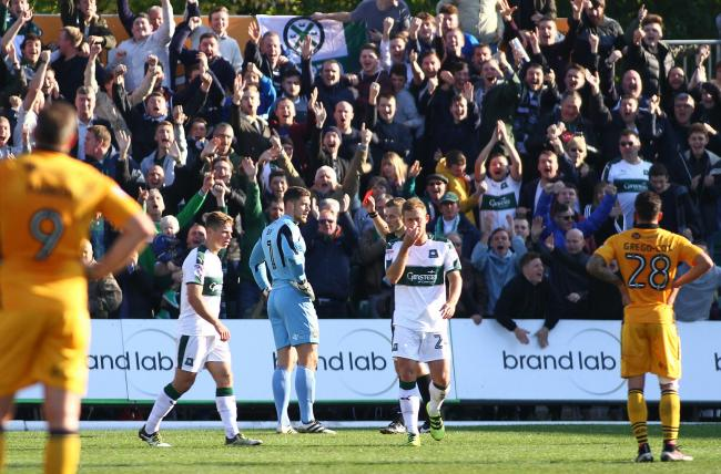 FLASHBACK: Plymouth Argyle fans celebrate at Rodney Parade in October 2016 as Newport County goalkeeper Joe Day is sent off