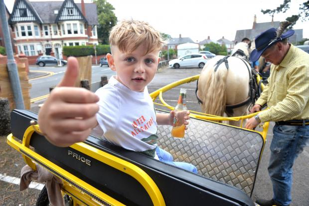 South Wales Argus: Samson Price gives a thumbs-up at the protest.