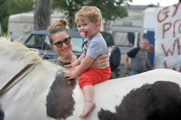 South Wales Argus: Baby Tobias on one of the horses at the protest.
