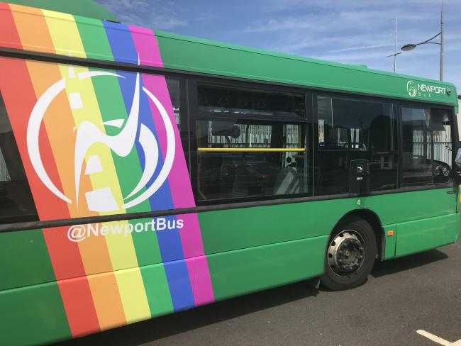 Newport Bus are supporting Cardiff Pride with newly decorated buses. Picture: Newport Bus.