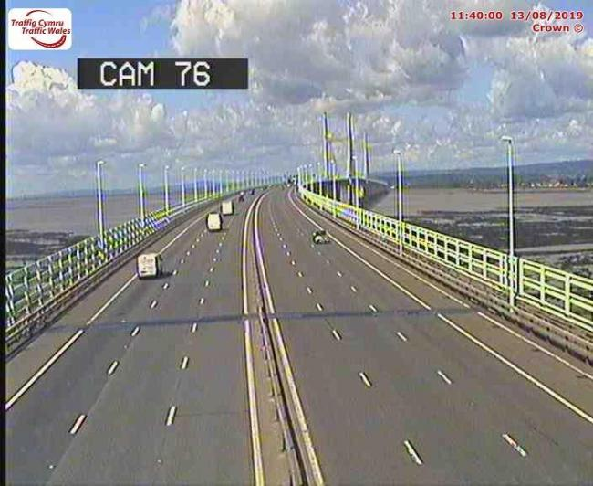 The crash is on the English side of the Prince of Wales Bridge - picture shows traffic heading over the bridge from Wales. Picture - Traffic Wales