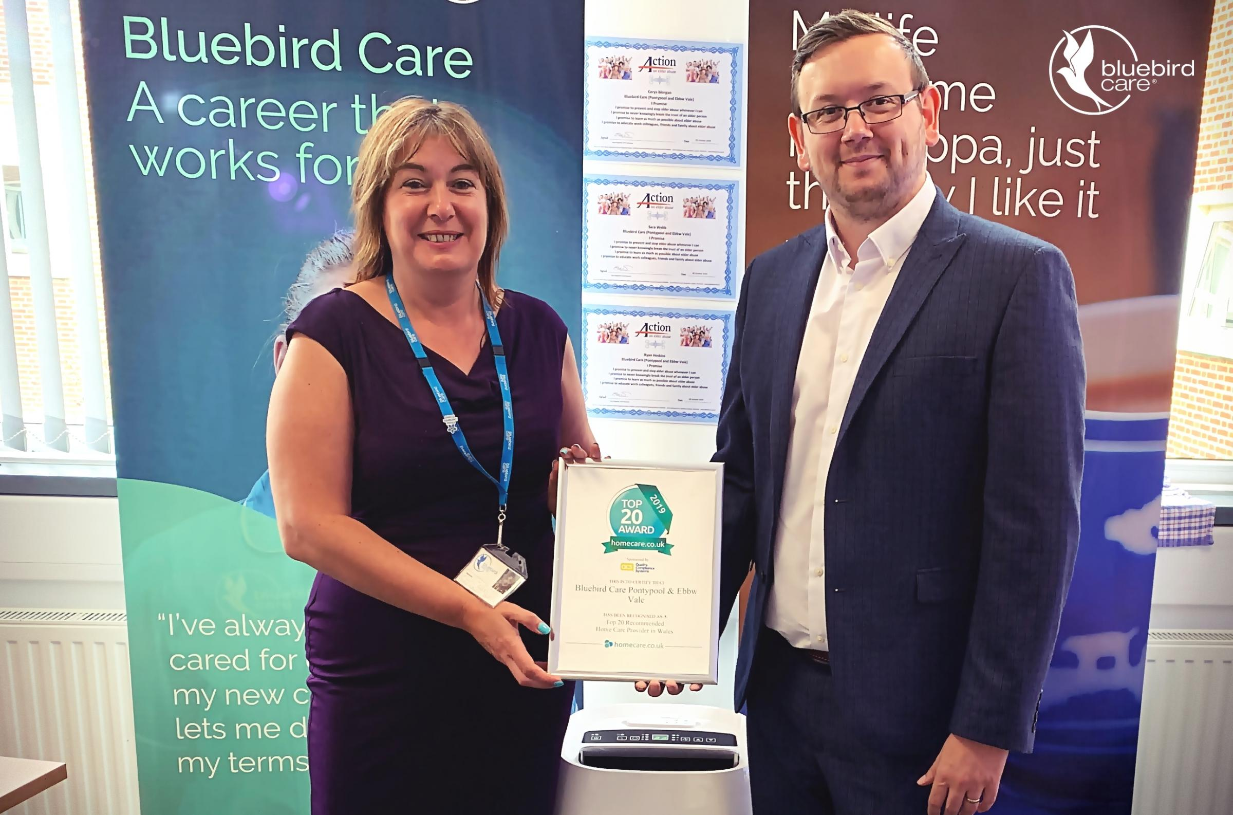 Bluebird Care Pontypool and Ebbw Vale home care provide voted one of the best in Wales