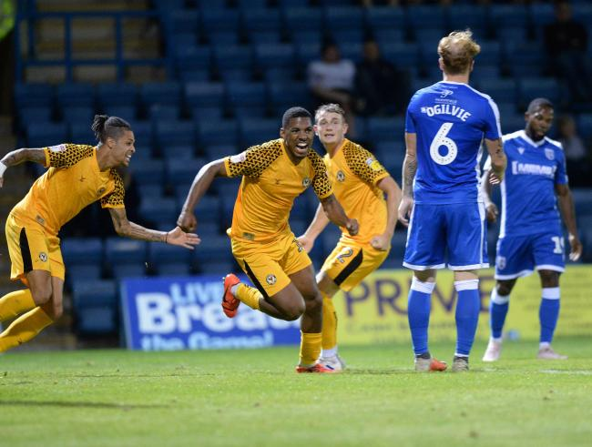 MAIDEN STRIKE: Tristan Abrahams celebrates scoring against Gillingham on Tuesday night