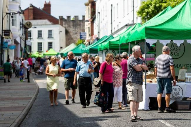 Shoppers enjoying the traditional market on Chepstow High Street Picture: traceypaddisonphotography.com