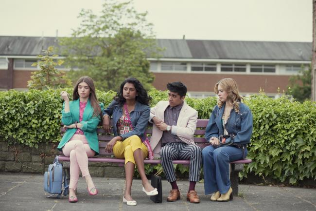 Aimee Lou Wood, Mimi Keene, Simone Ashley, and Chaneil Kular in Sex Education (2019) Picture: Sam Taylor/Netflix.