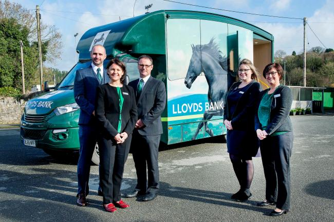 Lloyds Bank Mobile Branch Van, St Austell. L-r Andrew Hassall, Lloyds Bank Regional Director for Wales and West Carys Williams, St Austell Bank Manager Matthew Warren and staff  Claire Dormand and Emily Kent.