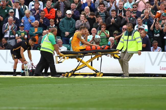 SUPPORT: Newport County defender Mickey Demetriou suffered a broken leg against Plymouth Argyle on August 17. Pictures: Huw Evans Agency