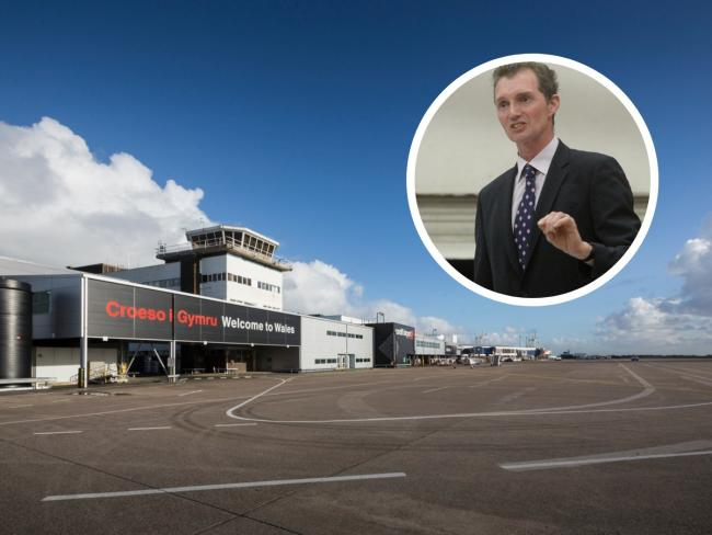 David Davies MP (inset) has called for Air Passenger Duty to be devolved to Wales, possibly making travel cheaper from places like Cardiff Airport (pictured).