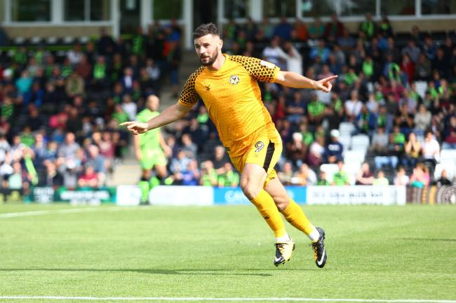 GOAL: Padraig Amond put Newport County 1-0 up at Forest Green Rovers. Pictures: Huw Evans Agency