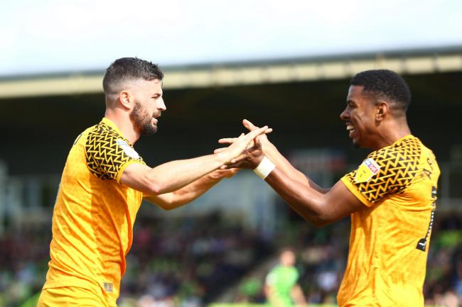 PARTNERSHIP: Newport County's opening goal at Forest Green Rovers was created by Tristan Abrahams, right, and scored by Padraig Amond, left. Pictures: Huw Evans Agency