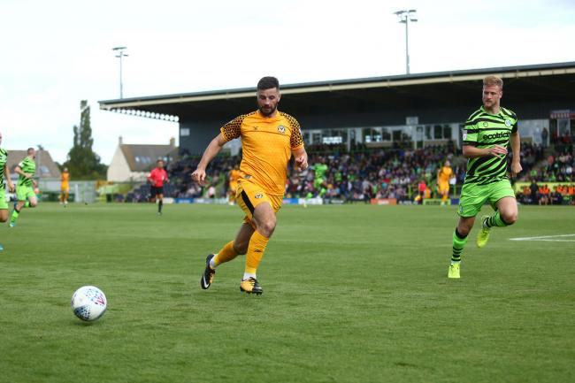 CONFIDENT: Newport County striker Padraig Amond, left, takes on Matt Mills of Forest Green Rovers on Saturday. Picture: Huw Evans Agency