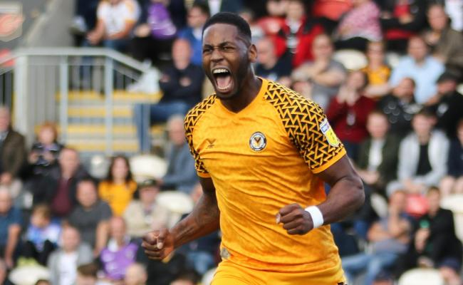 GOAL: Jamille Matt celebrates his winner for Newport County against Port Vale. Pictures: Huw Evans Agency