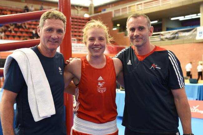 CHASING TOKYO: Rosie Eccles with Lee Pullen, left, and Graham Alderson, right, in Madrid