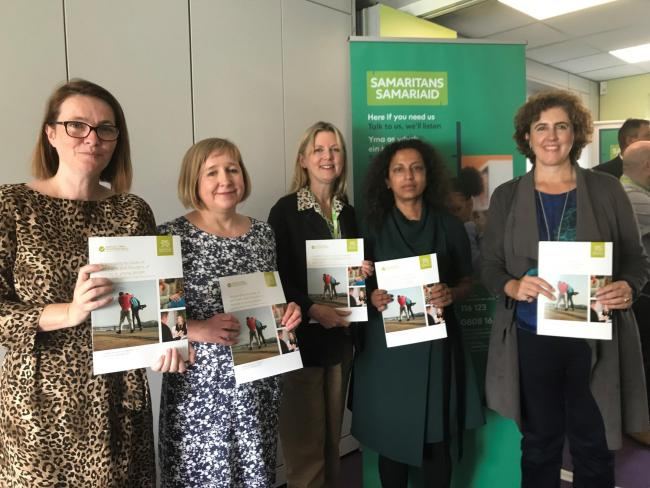 Minister for Education Kirsty Williams, Lynne Neagle AM, Sarah Stone Samaritans Cymru Executive Director, Prof Ann John co-author of the guidance and Anna Laing, Samaritans Cymru Trustee.