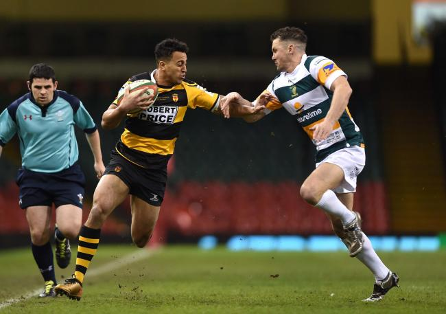 CUP BID: Wing Jon Morris on the run in Newport's 2018 cup final loss to Merthyr