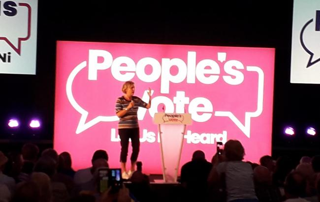 RALLY: Anna Soubry MP at the People's Vote event in Newport last night