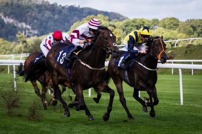 FINE RUN: Atty's Edge (number 13) wins for Chris Mason at Chepstow last week