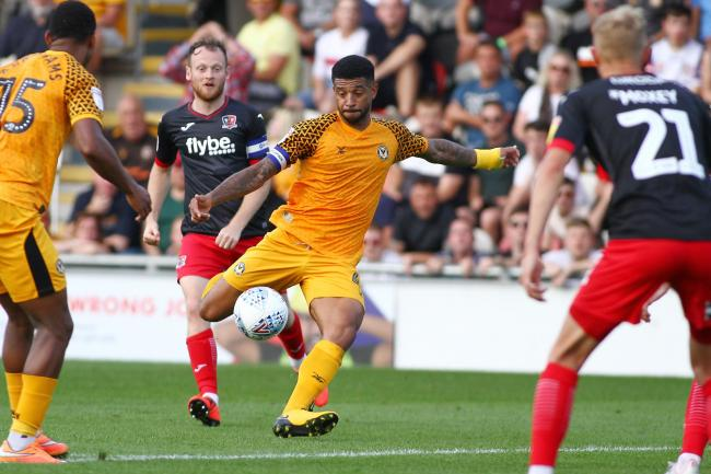 CHANCE: Newport County midfielder Joss Labadie takes aim at goal against Exeter City. Pictures: Huw Evans Agency