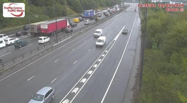 Traffic queuing on the M4 eastbound around Newport. Picture: Traffic Wales.