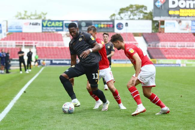 CONFIDENT: Newport County striker Jamille Matt in action at Swindon Town on Saturday