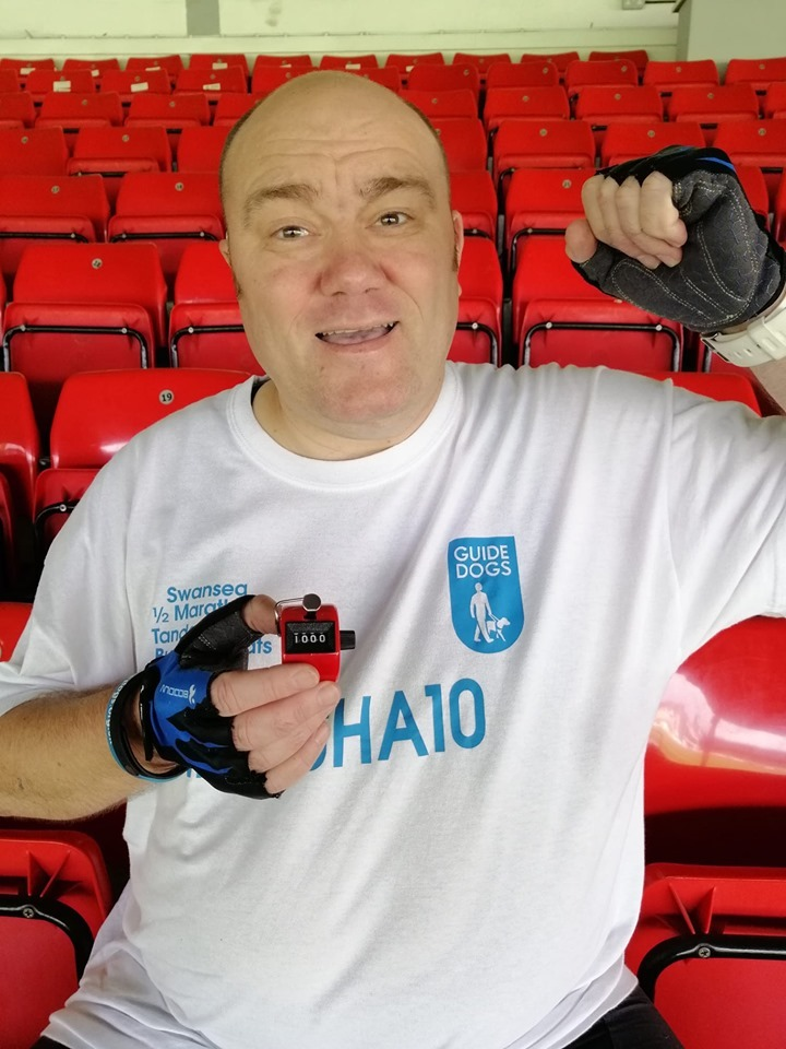 Blind man sits on every seat in Rodney Parade for Guide Dogs Cymru