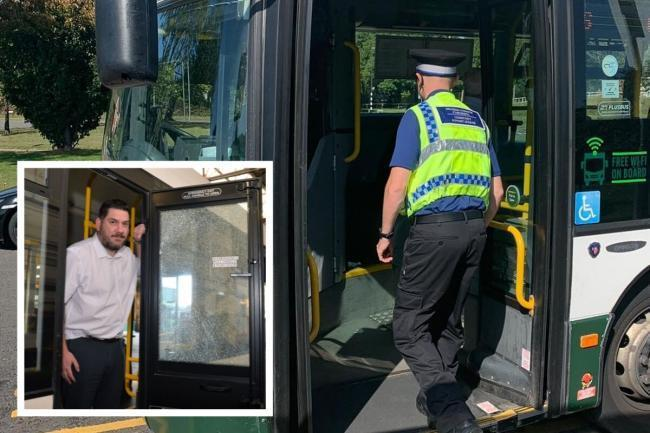 A Gwent Police CSO boards a Newport Bus and, inset, the transport firm's operations director, Morgan Stevens. Picture: Gwent Police and (inset) Chris Tinsley