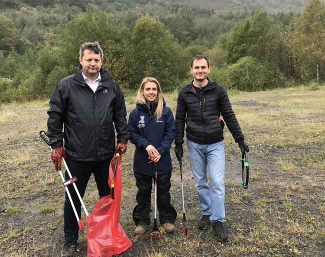 Alun Davies AM, Sally Morgan of Keep Wales Tidy and Chris Latham of OPCC