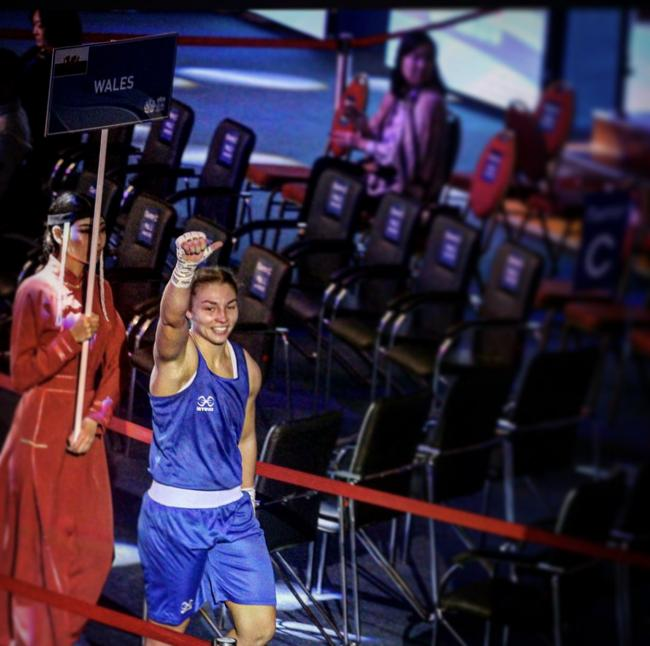 JOY: Lauren Price celebrates after her win over Khadija Mardi. Picture: Twitter @LLPrice94