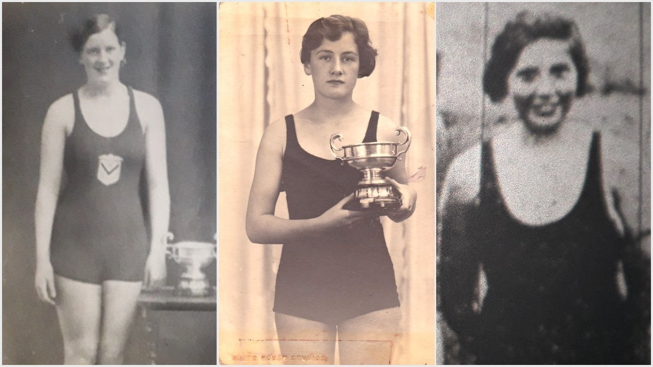 Who dares, swims - in the 1930s these intrepid young Newport women braved the chilly waters of the River Usk for races watched by thousands