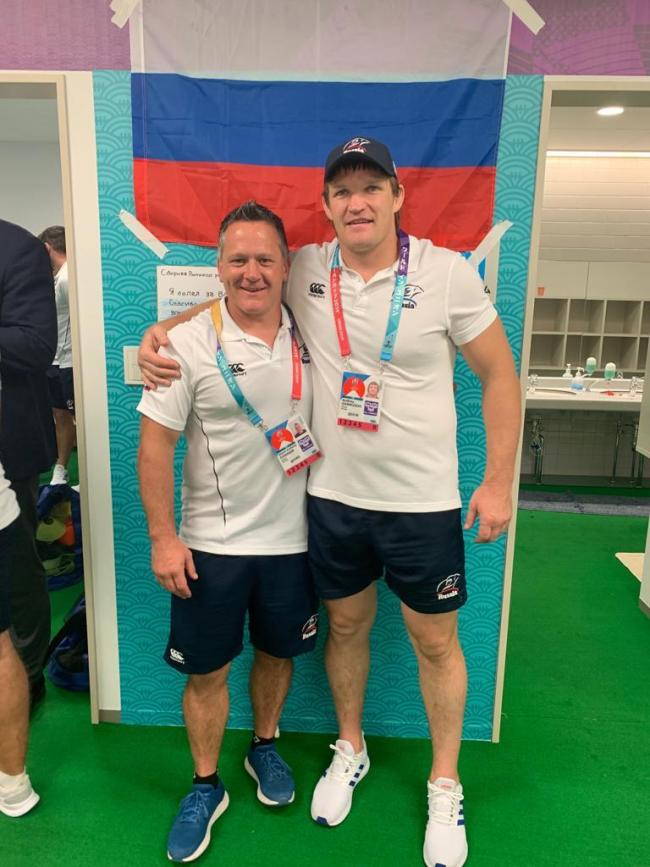 WORLD CUP CHALLENGE: Coach Shaun Connor with Russia lock Andrey Garbuzov