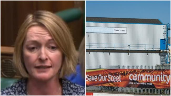 Newport East MP Jessica Morden, pictured in the House of Commons today, called for the city's Orb steelworks to be part of the supply chain for electric vehicles