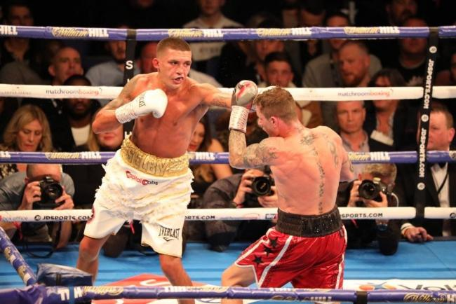 BATTLE: Lee Selby, left, in action against Ricky Burns at London's O2. Picture: www.liamhartery.com