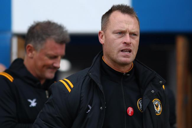 TEAM: Newport County boss Michael Flynn, right, welcomed back assistant manager Wayne Hatswell, left, at Colchester United on Saturday. Pictures: Huw Evans Agency