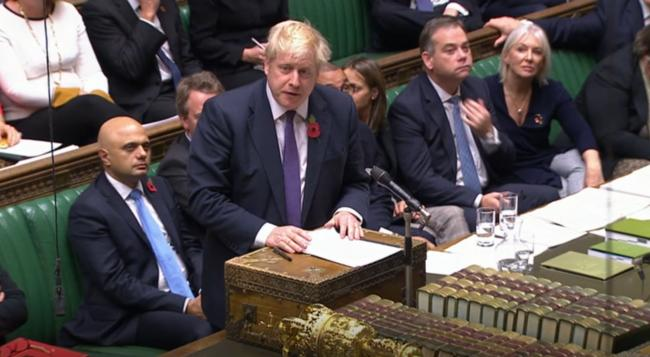 Prime Minister Boris Johnson speaks during the election debate ahead of the vote in the House of Commons Picture: House of Commons/PA Wire