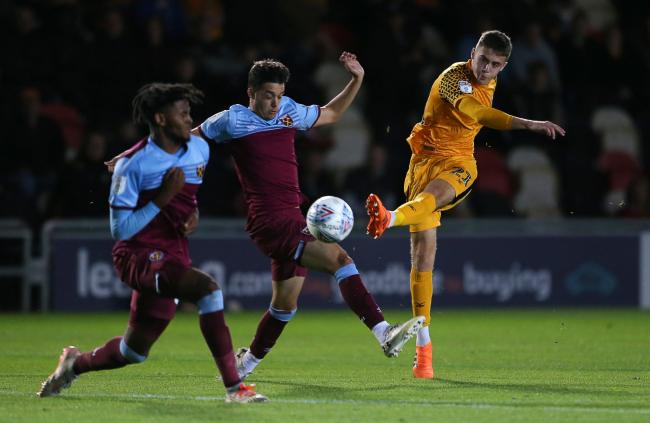 TALENT: Newport County academy graduate Lewis Collins in action against West Ham under-21s last month