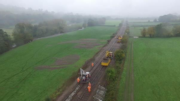 Work to repair the Abergavenny to Hereford railway line will be completed ahead of schedule