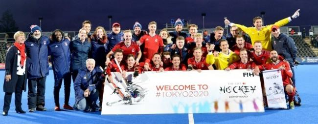 ON THEIR WAY: The GB men's hockey team celebrate their qualification for Tokyo 2020